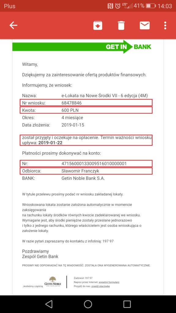 Getin Bank e-lokata dane do przelewu