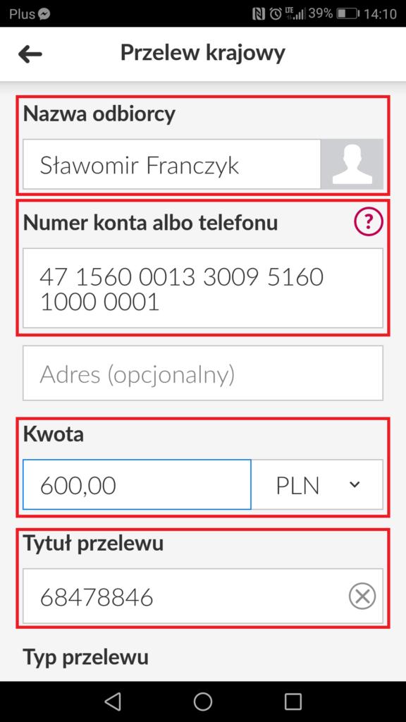 Getin Bank e-lokata przelew środków na lokatę