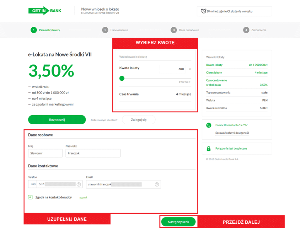Getin Bank e-lokata 3,5% wniosek krok 1