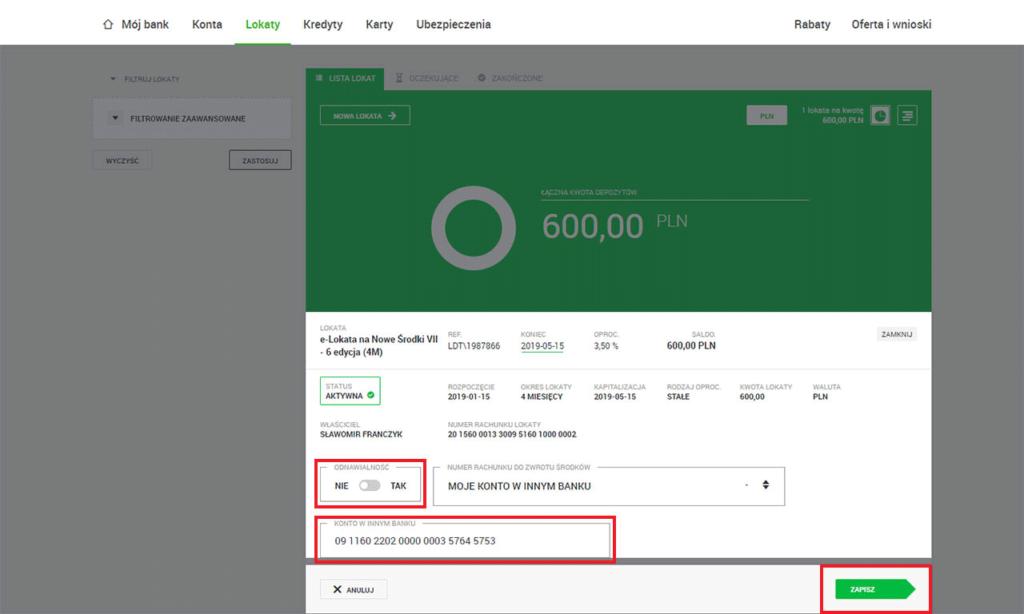 Getin Bank e-lokata 3,5% wyłączenie odnawialności