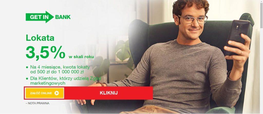 strona promocji Getin Bank e-lokata 3,5%